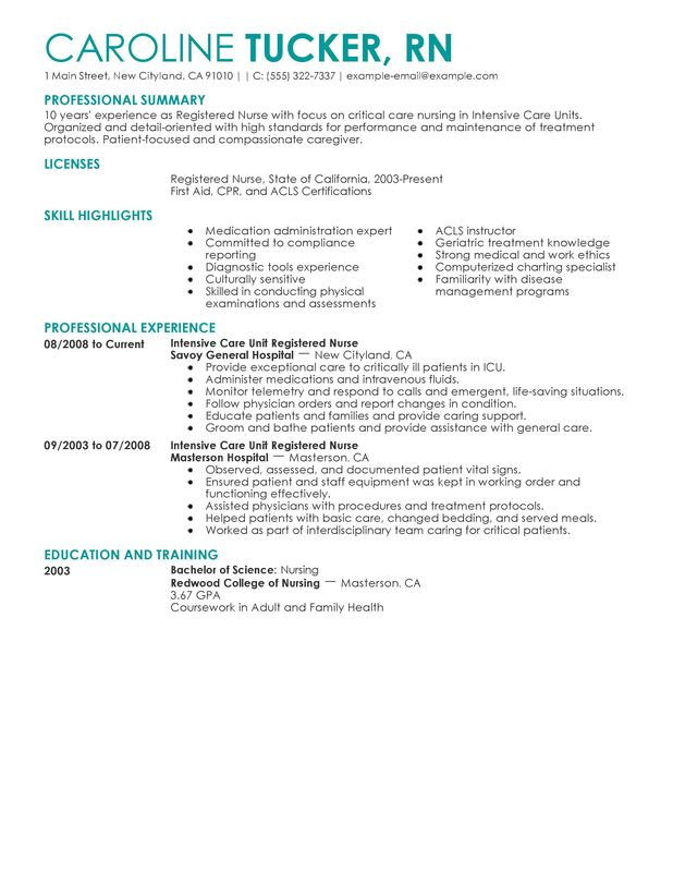 Entry Level Nurse Resume Sample | Sample Resumes
