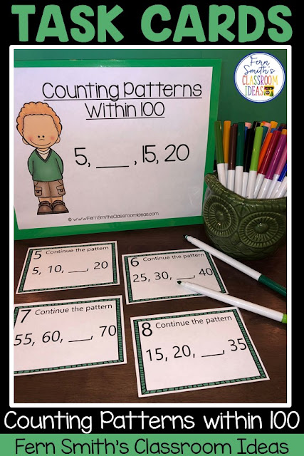 Do You Need Lesson Plans and Resources to Teach Counting Patterns Within 100 and Within 1,000? This blog post has lesson plans, task cards, color by number printables and center games for  and Second Grade Go Math 1.8 and 1.9, Counting Patterns Within 100 and Counting Patterns Within 1,000.  You will love how easy it is to prep this bundle for your math class. Perfect for small groups, read the room, centers, scoot, tutoring, Around the World whole class game, homework, seat work, so many ways to use these task cards that the possibilities are endless. Your students will enjoy the freedom of independent learning with these color by code worksheets and reviewing important skills with the center games and task cards! Perfect for an assessment grade for the week or for a substitute teacher day! #FernSmithsClassroomIdeas
