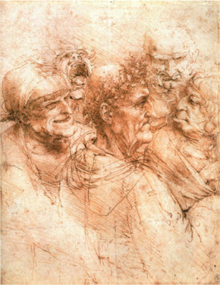 Scan of Leonardo Da Vinci's study of 5 grotesque heads