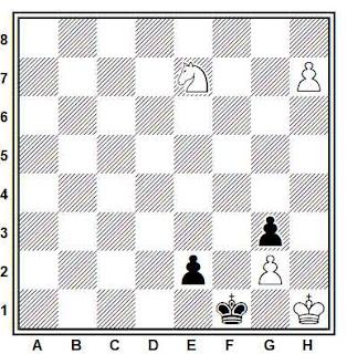 Estudio artístico de ajedrez compuesto por Y. Hoch (8º clasificado, 4º WCCT 1989-1992)