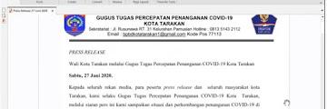 Press Release COVID-19 Tarakan 27 Juni 2020