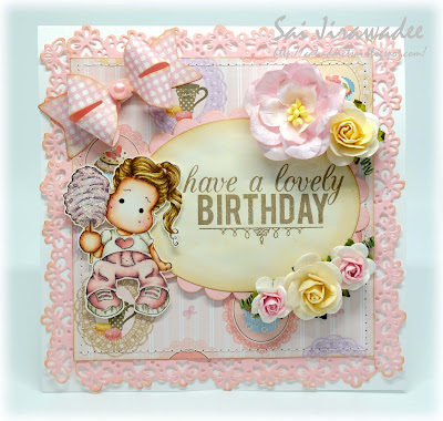 Magnolia Pink Cotton Candy Tilda Birthday Card