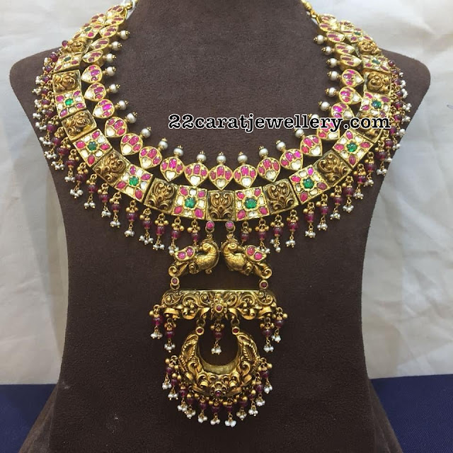 Antique Kundan Set with Peacock Pendant