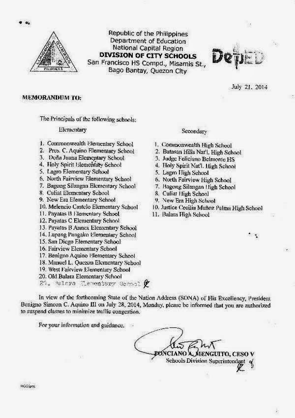 Suspension of Classes July 28 2014