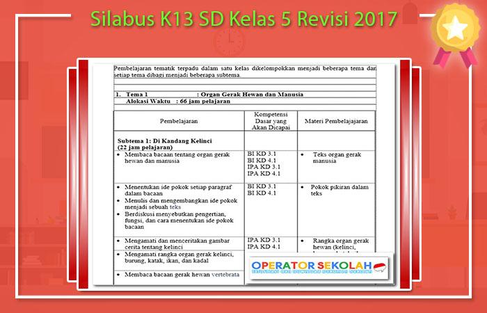Silabus K13 SD Kelas 5 Revisi 2017