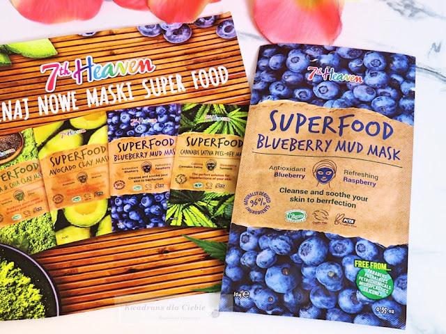 7th Heaven Superfood, Matcha & Chia Clay Mask, Avocado Clay Mask, Blueberry Mud Mask, Cannabis Sativa Peel -off Mask, właściwości awokado, matcha, chia, jagody, konopie siewne, kosmetyki naturalne, kosmetyki wegańskie, nawilżenie skóry, odżywienie skóry. recenzja masek 7th Heaven Superfood, kwadrans dla ciebie