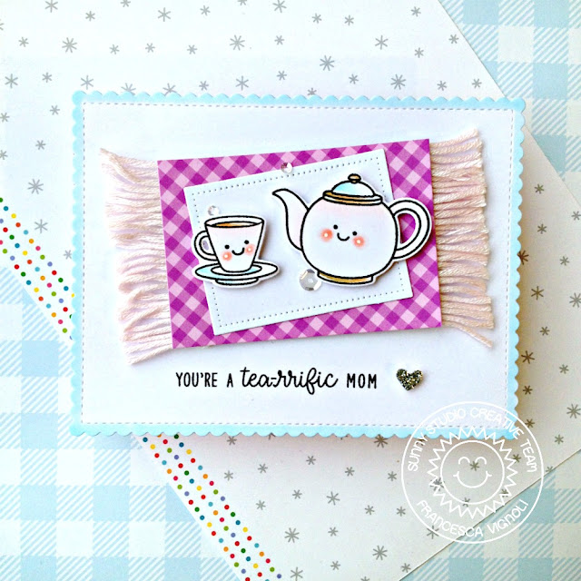 Sunny Studio Stamps: Tea-riffic Summer Sweets Frilly Frame Dies Mother's Day Card by Franci Vignoli