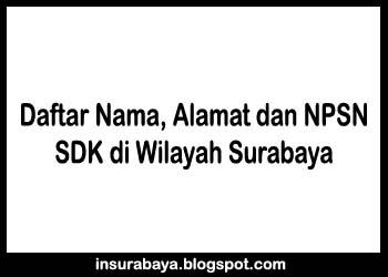 Daftar Nama, Alamat dan NPSN SD Kristen di Wilayah Surabaya