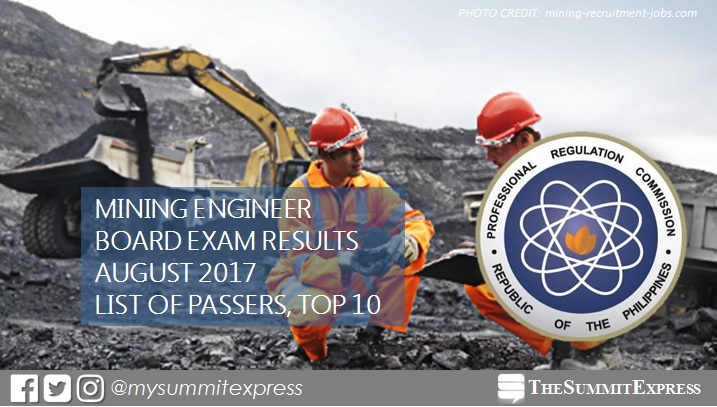 August 2017 Mining Engineer board exam passers, top 10