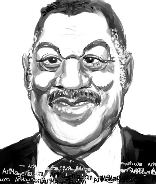 Jesse Jackson  caricature cartoon. Portrait drawing by caricaturist Artmagenta.