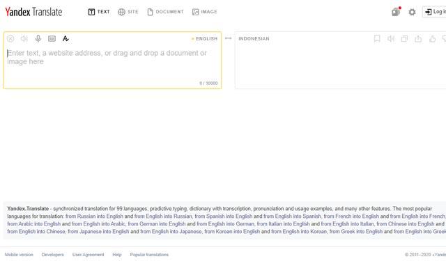 Yandex.com Situs Penerjemah Inggris Indonesia