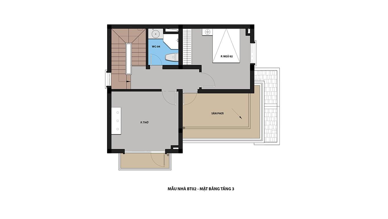 Mặt bằng tầng 3 biệt thự Hateco 5 Xuân Phương