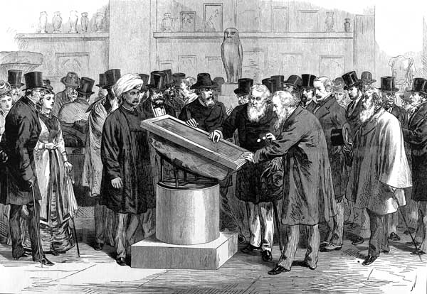 The Rosetta Stone on display in the British Museum in 1874.