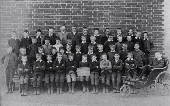 Photograph of Welham Green Boys' School 1900s with Edward Randle in the wheelchair - Image from P Grant / G Knott