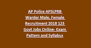 AP Police APSLPRB Warder Male, Female Recruitment 2018 123 Govt Jobs Apply Online- Exam Pattern and Syllabus