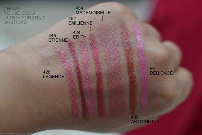Chanel Rouge Coco Lipsticks Swatches 440 Arthur 428 Legende 446 Etienne 424 Edith 452 Emilienne 434 Mademoiselle 406 Antoinette 59 Dedicace