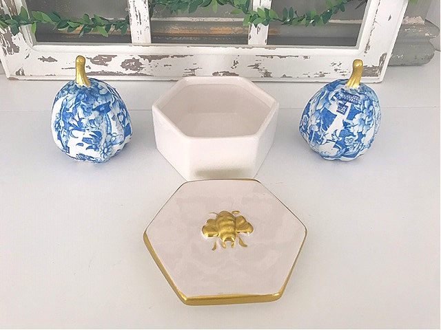 gold bee embellished trinket box no lid
