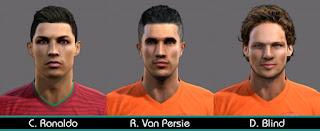Faces: Cristiano Ronaldo, Van Persie, Blind, Pes 2013
