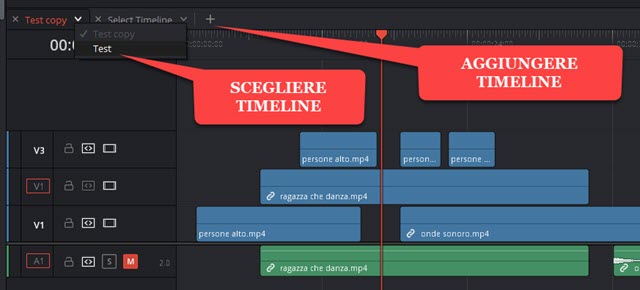 aggiunta e selezione delle timeline