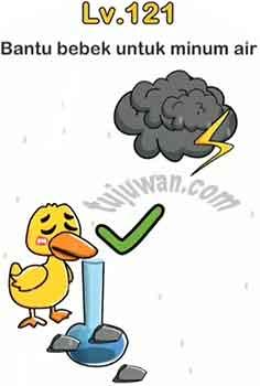 Jawaban Brain Out Level 121 Bantu Bebek Untuk Minum Air