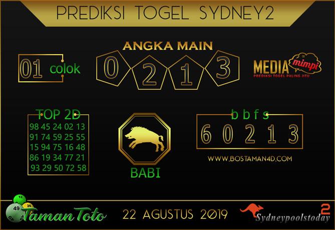 Prediksi Togel SYDNEY 2 TAMAN TOTO 22 AGUSTUS 2019