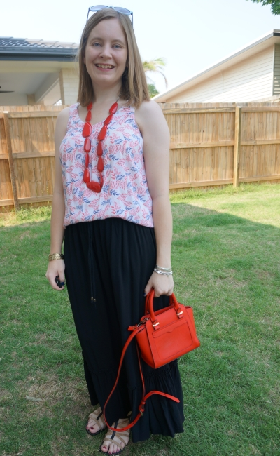 leaf print tank with black drawstring maxi skirt red statement necklace and rebecca minkoff avery bag | away from the blue