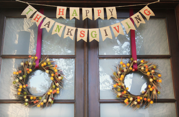 Thanksgiving Front Door Banner Wreaths