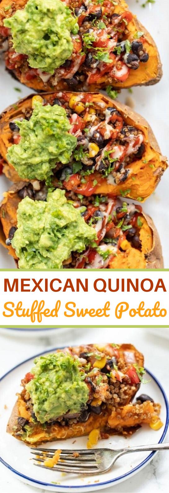 Mexican Quinoa Stuffed Sweet Potatoes #vegetarian #plantbased #dinner #sweetpotato #vegan