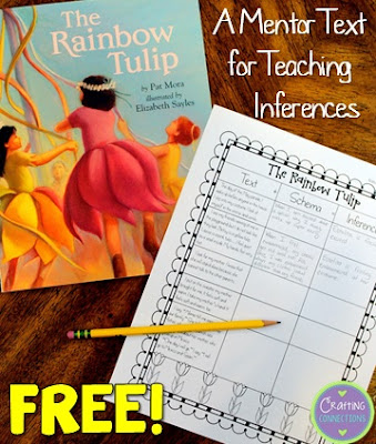 This blog post contains a FREE inference worksheet that can be used as a followup activity to reading the story The Rainbow Tulip by Pat Mora.