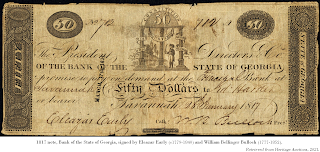 1817 note dated 28 Jan 1817, Bank of the State of Georgia, signed by 'Eleazar' Early (c1779-1840) and former U.S. Sen. William Bellinger Bulloch (1777-1852). Retrieved from Heritage Auctions, 2021.