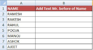 How  to add text to the beginning or end of all cells in Excel in Hindi