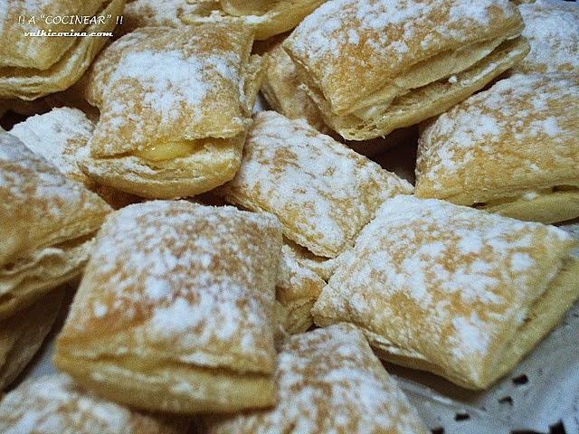 Miguelitos de crema y nata (crema de leche)