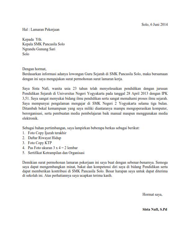 Contoh Surat Lamaran Kerja Guru Sejarah Ben Jobs
