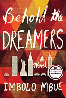 book cover of Behold the Dreamers by Imbolo Mbue, showing a series of red, yellow and oranges in a textured background with white cut-outs of New York City buildings and landmarks overlaid