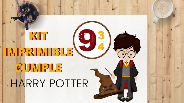KIT, imprimible, harry potter, cumpleaños, pdf, gratis