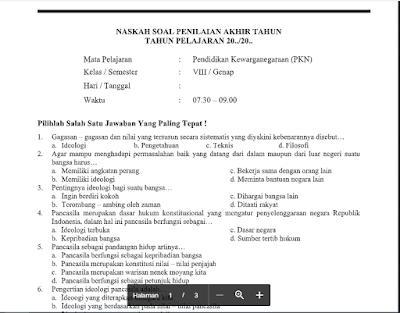 50 Soal PAT PPKn Kelas 8 Kurikulum 2013