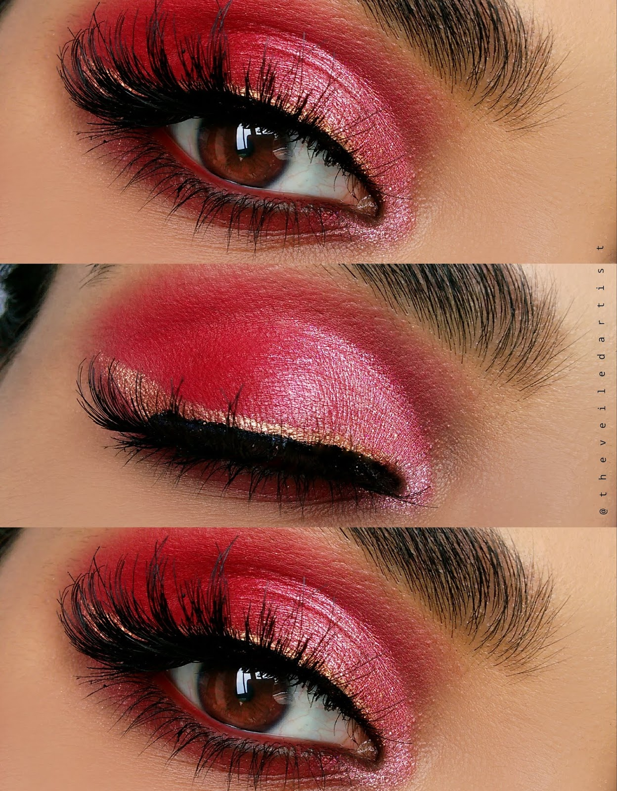 Red Semi Cut Crease Tutorial (Instagram makeup trend): The Veiled Artist