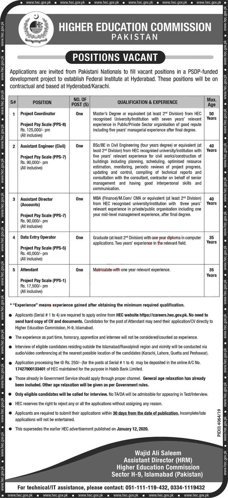 HEC Jobs 2020, Jobs in HEC Jobs 2020 Higher Education Commission