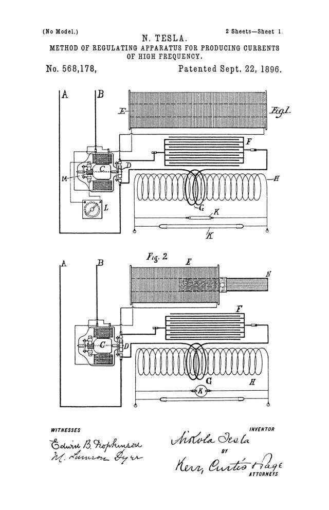 NIKOLA TESLA U.S. PATENT 568,178 - METHOD OF REGULATING APPARATUS FOR PRODUCING ELECTRIC CURRENTS OF HIGH FREQUENCY