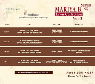 Shree Fab mariya B lawn Collection vol 2 Super Nx Pakistani Suits