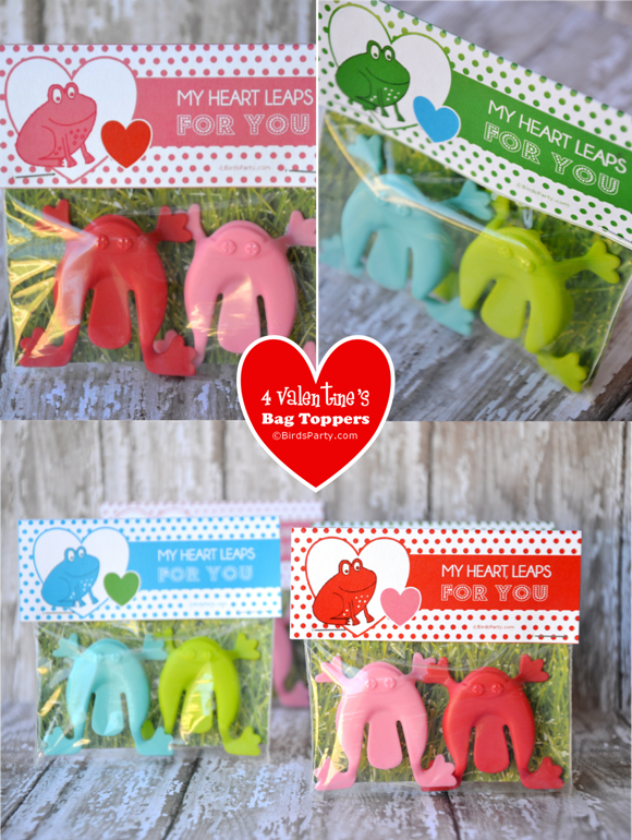 Free Valentine's Day Printable Favor Bag Toppers - BirdsParty.com