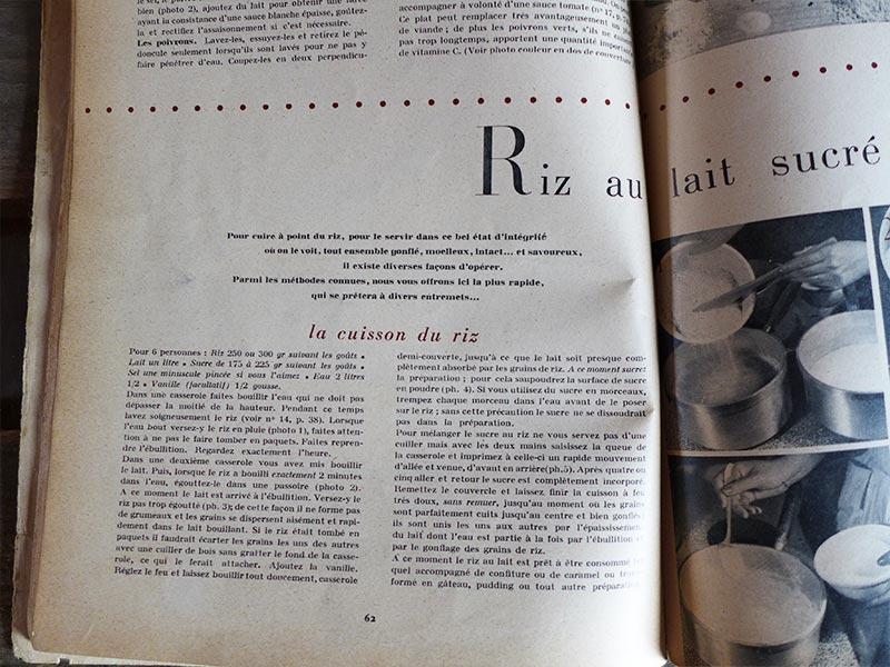 Ancienne recette de riz au lait sucré 1950