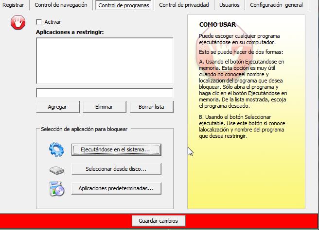 Formulario para el control de ejecución de programas