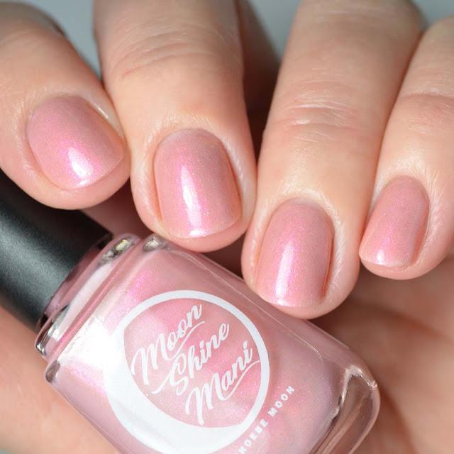 pink shimmer nail polish swatch
