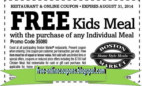 photo regarding Printable Boston Market Coupons called Boston current market discount coupons 2019 printable