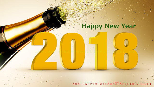 New Year 2018 with bottle