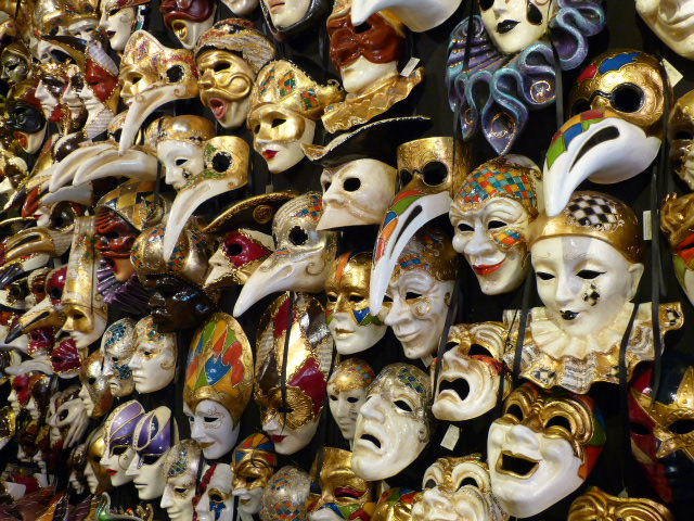 Vast array of handmade masks at Ca Del Sole