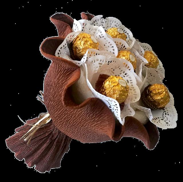 Bukiet z ręcznika z Ferrero Rocher dla mężczyzny