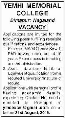 Post of Assistant Librarian Yemhi Memorial College, Dimapur, Nagaland: