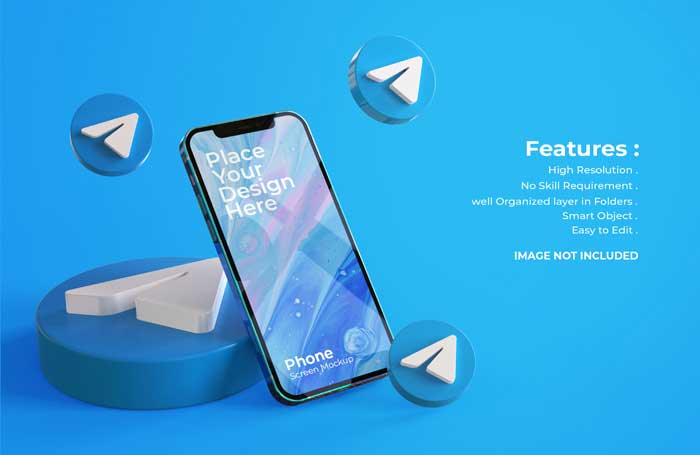 3D Telegram Icons With Mobile Screen PSD Mockup